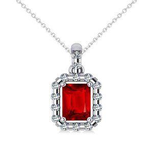 Jewelry - Pendant Necklace 14K Emerald Cut Ruby With Round D